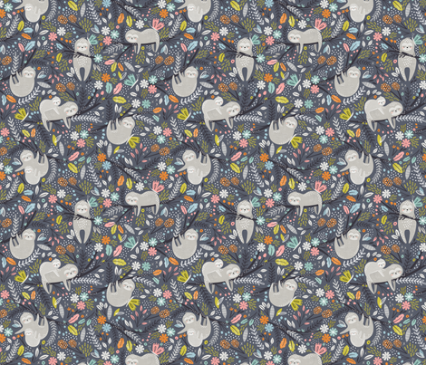 Hanging out - grey sloths fabric by sarah_knight on Spoonflower - custom fabric