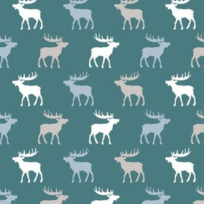 Canadian winter animals woodland Scandinavian moose deer night blue boys