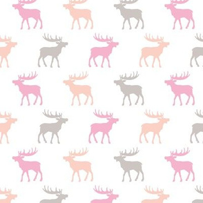 Canadian winter animals woodland Scandinavian moose deer pastel pink girls