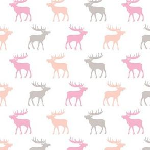 Canadian winter animals woodland Scandinavian moose deer pastel pink girls