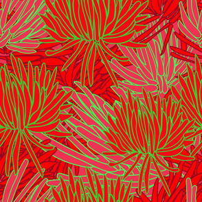 Succulants in Red and Green-Modern Succulents, repeat pattern