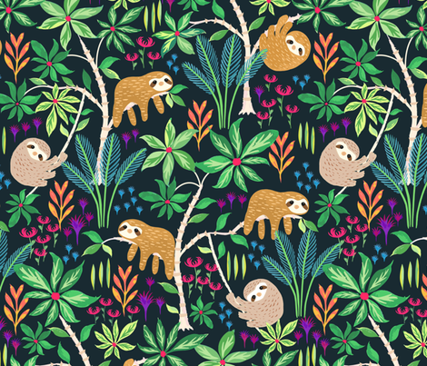 Hand Painted Sloth Forest fabric by jill_o_connor on Spoonflower - custom fabric