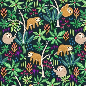 Hand Painted Sloth Forest