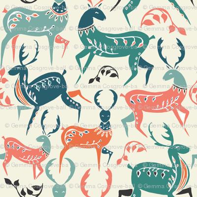 scandinavian dancing deer - large scale