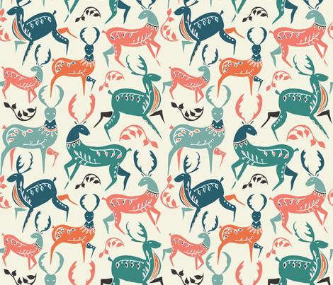 scandinavian dancing deer - large scale fabric by gemmacosgroveball on Spoonflower - custom fabric