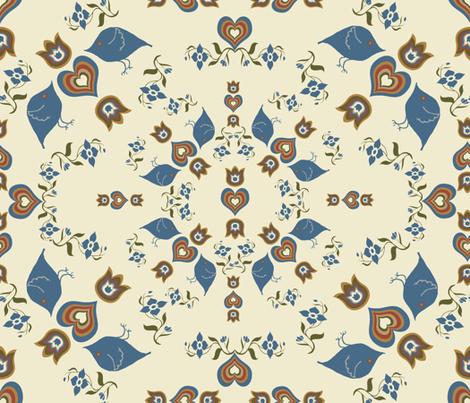 Dance of the Scandinavian Love Birds fabric by anniedeb on Spoonflower - custom fabric