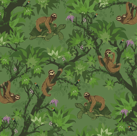 Sloth Forest and Friends fabric by dilatorysloth on Spoonflower - custom fabric