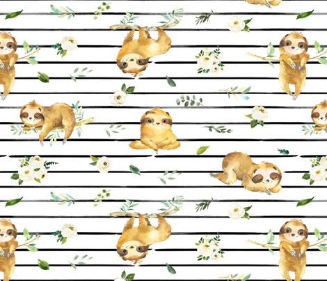 "18"" Zen Sloths fabric by hipkiddesigns on Spoonflower - custom fabric"