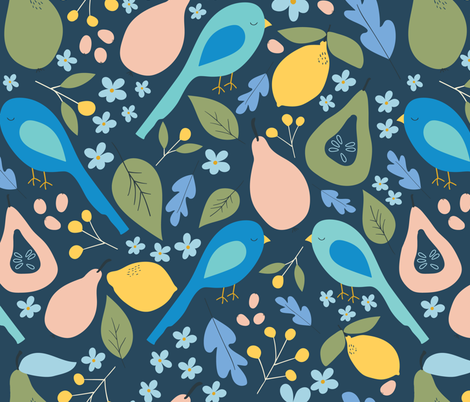 Orchard Birds fabric by sarah_price_designs on Spoonflower - custom fabric
