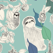 Large scale sloths on turquoise