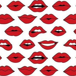 lips pattern fabric - beauty and makeup fabric, girls valentines day fabric, kiss lips fabric - red