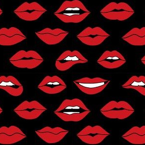 lips pattern fabric - beauty and makeup fabric, girls valentines day fabric, kiss lips fabric - black