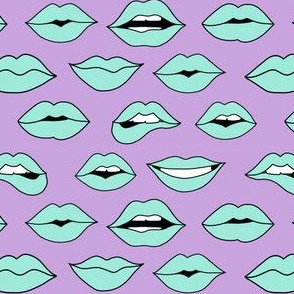 lips pattern fabric - beauty and makeup fabric, girls valentines day fabric, kiss lips fabric - mint lips