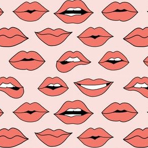 lips pattern fabric - beauty and makeup fabric, girls valentines day fabric, kiss lips fabric - coral