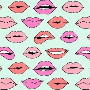 lips pattern fabric - beauty and makeup fabric, girls valentines day fabric, kiss lips fabric - pastel mint
