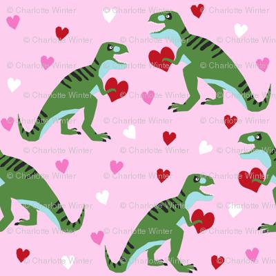 dinosaur valentines day pattern fabric - cute dino valentines, dinosaur valentines day, pink and red dinos, cute dinosaurs - pink and green