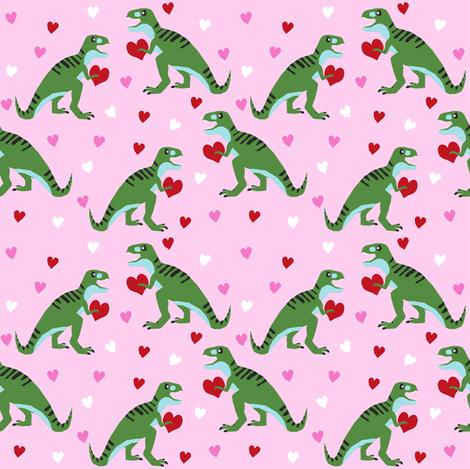 dinosaur valentines day pattern fabric - cute dino valentines, dinosaur valentines day, pink and red dinos, cute dinosaurs - pink and green fabric by charlottewinter on Spoonflower - custom fabric