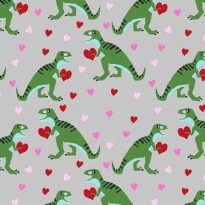 dinosaur valentines day pattern fabric - cute dino valentines, dinosaur valentines day,, pink and red dinos, cute dinosaurs - grey