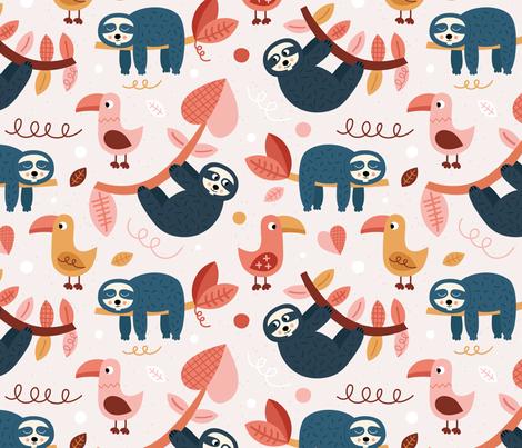 Jungle-Sloth fabric by la_fabriken on Spoonflower - custom fabric