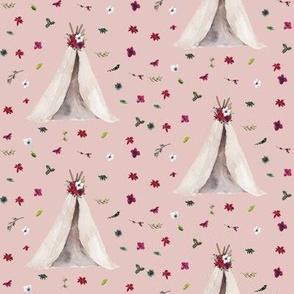 "4"" Christmas Teepee Floral // Cavern Pink"
