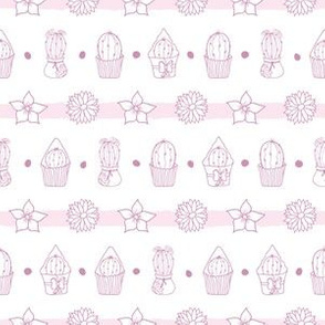 Cacti And Flowers Striped Pattern