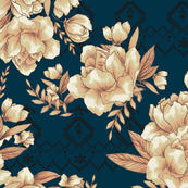 Blue peach floral pattern