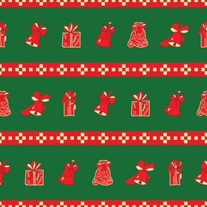Green and Red Christmas Pattern with Bells