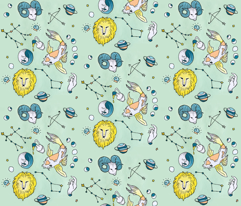 Sun In Aries fabric by abacon on Spoonflower - custom fabric