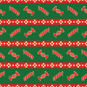 Green and Red Christmas Pattern with Candies