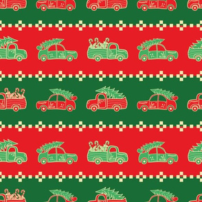 Green and Red Christmas Pattern with Trucks