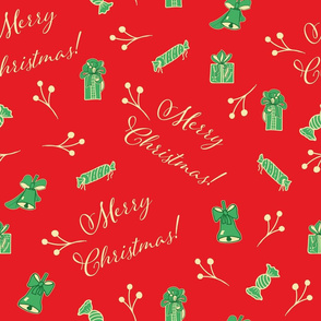 Red Christmas Pattern With Text and Decor