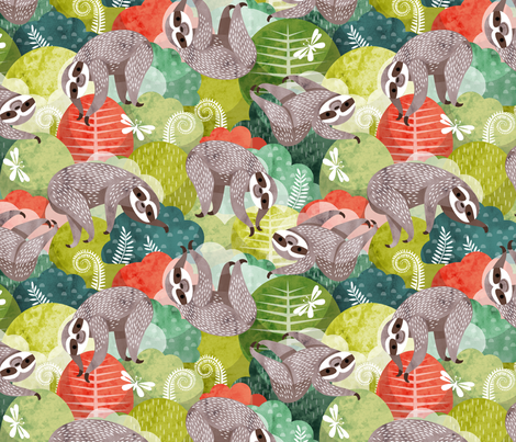 Tree top sloths fabric by cjldesigns on Spoonflower - custom fabric