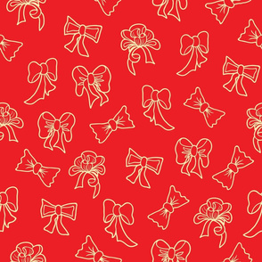 Red Christmas Pattern with Bows