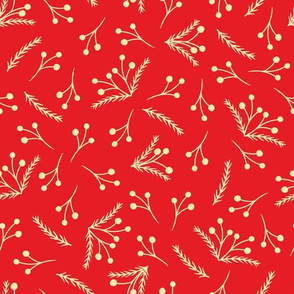 Christmas Pattern with Branches and Berries