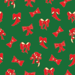 Green Christmas Pattern with Red Bows