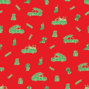 Red Christmas Print with Green Trucks and Holidays Decor