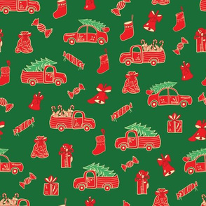Green Christmas Print with Red Trucks and Holidays Decor