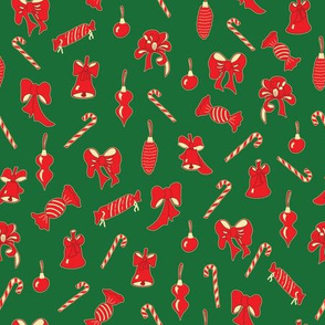 Christmas Pattern with Red Winter Holidays Decor