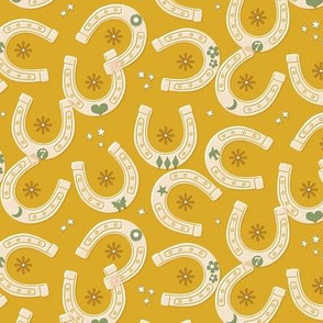 Bronco* (Midi Gold Marilyn) || cowboy cowgirl western horse horseshoe horseshoes luck lucky charms star stars flower flowers butterfly moon heart mustard
