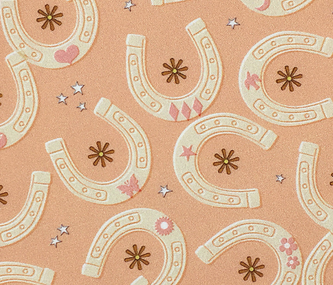 Bronco* (Midi Peach Halves) || cowboy cowgirl western horse horseshoe horseshoes luck lucky charms star stars flower flowers butterfly moon heart coral pastel mustard gold blush