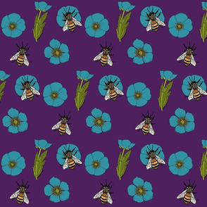 Buttercup repeat turquoise flowers purple