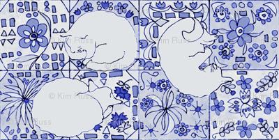 Grey Cats, Spanish Tile-Blue