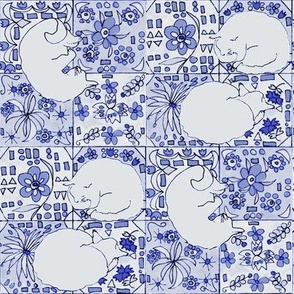 Grey Cats, Spanish Tile-Blue