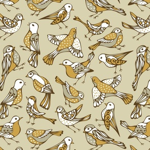 Birds Taupe Gray on Tan