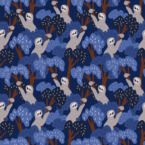 Night Sloths fabric by cooper+craft on Spoonflower - custom fabric
