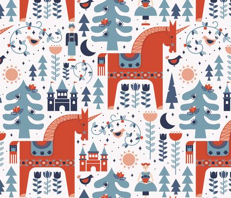 Scandinavian Fairy Tale Blue + Orange fabric by latheandquill on Spoonflower - custom fabric