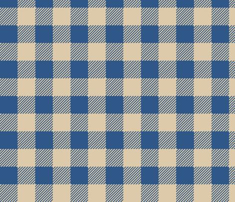 Buffalo Check Plaid Blue Tan fabric by phyllisdobbs on Spoonflower - custom fabric