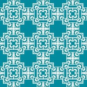 Layered Squares - Teal/White
