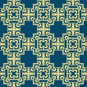 Layered Squares - Navy/Gold
