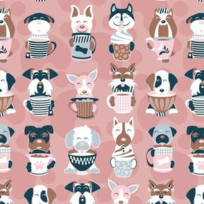 Doggie Coffee and Tea Time 3 // blush pink background